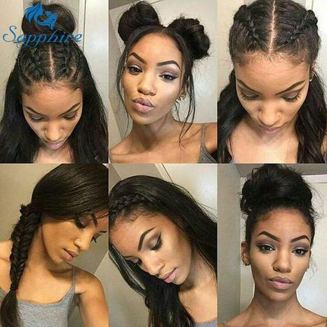 Sapphire Brazilian Lace Front Human Hair Wigs For Women Remy Hair Straight Lace Front Wigs With Baby Hair Full End Natural Black