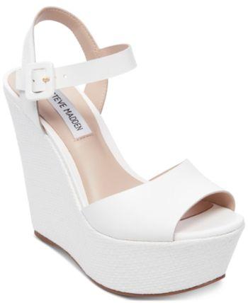 steve madden white wedge sandals