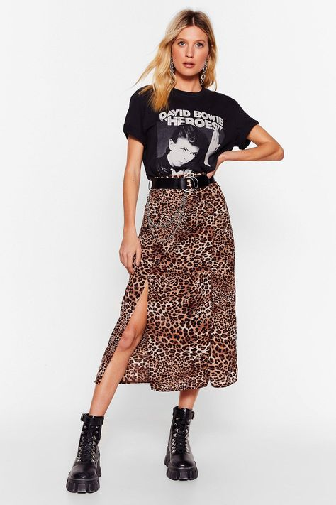 Leopard Print Slit Midi Skirt