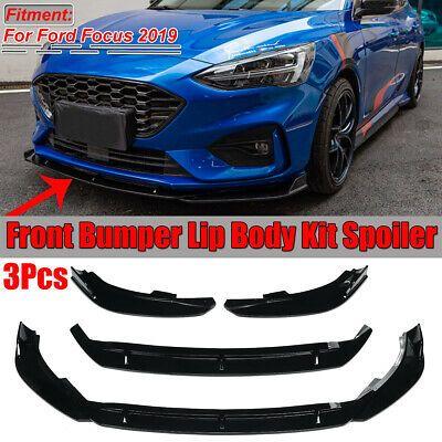 3pcs Bright Black Front Bumper Lip Cover Trim Spoiler For Ford