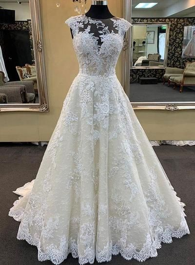 W89 Champagne Lace Long Wedding Dresses Wedding Dress Custom Made Wedding Gown From Fancygirldress Wedding Dress Champagne Wedding Dress Train Wedding Dresses