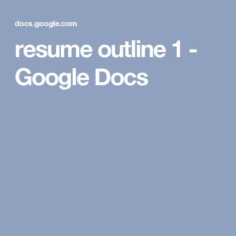 resume basics 2 - Google Docs CMCI Resume Documents Pinterest - resume basics