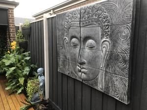 2 Piece Buddha Face Wall Plaque 10082 Garden Decor Wall Plaques