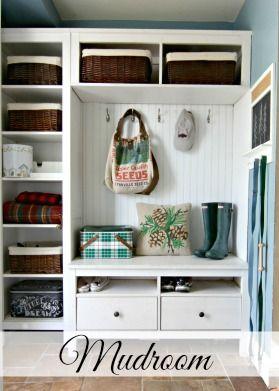 Mudroom Repurposed Ikea Hemnes Bookshelves With Images Ikea Mud Room Ikea Hallway
