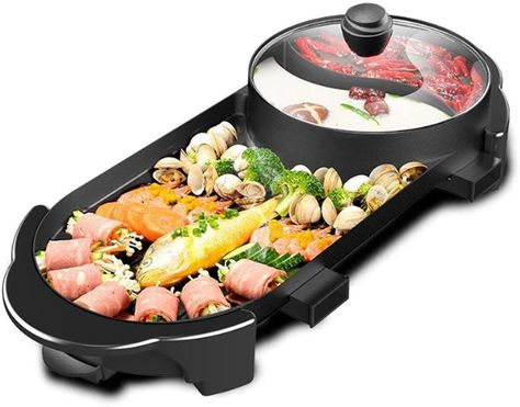 2-in-1 Smokeless Electric Indoor Barbecue Grill And Hot Pot