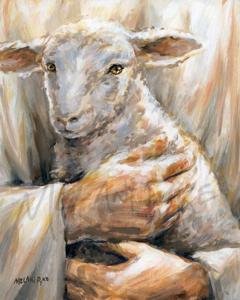 Be reminded of God's love for you with this lovely painting representing Jesus as the Good Shepherd holding a little lamb in his arms. Inspired by the parable of the lost sheep. Christian Drawings, Christian Paintings, Christian Artwork, Religious Paintings, Religious Art, Sheep Drawing, Sheep Paintings, The Lost Sheep, Jesus Art