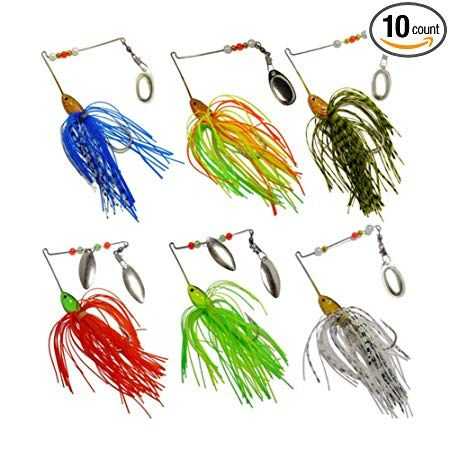 Box 10 Fishing Lure Spinnerbait Bass Trout Salmon Hard Metal Spinner Baits Kit