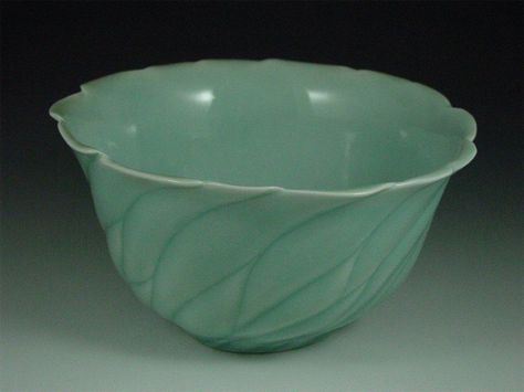 greenbowlrimM anne ginkel carved pottery ceramics clay
