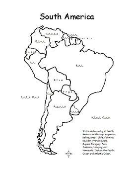 South America Fill In The Blanks On The Map South America