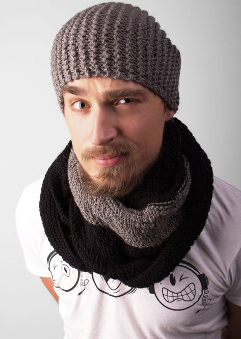 5f280a91f7e Knit Beanie with Scarf mens knit hat knitted beanie