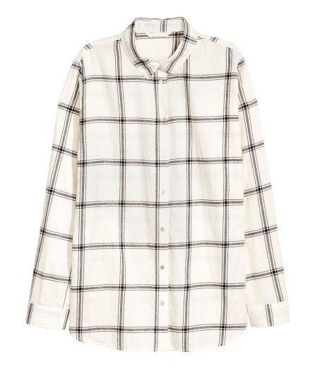 Flanellskjorte | Mørk blå/Rutet | Dame | H&M NO