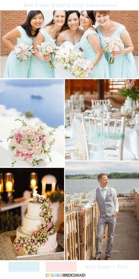 Best 8 June Wedding Color Combinations for 2019 - Mint Green + Pink. #colsbm #weddings #weddingideas #bridesmaiddresses #summerwedding #mintwedding b1270