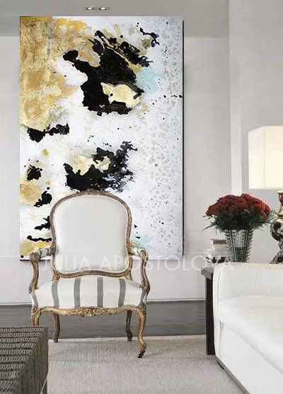 Luxury Wall Art Gold Leaf Painting Original Abstract Gold Leaf Etsy Wall Art Gold Leaf Glam Wall Art White Painting