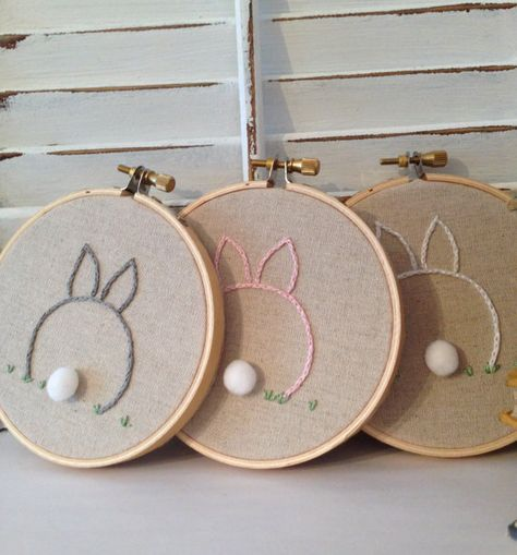 "Easter Decor, Baby Bunny Embroidery Hoop, Nursery Decor, Made To Order, OOAK, Created For You, 4"" Embroidery Hoop on Etsy, $15.00"