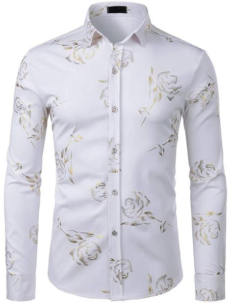 ZEROYAA Mens Hipster Gold Rose Printed Slim Fit Long Sleeve Dress Shirts//Prom