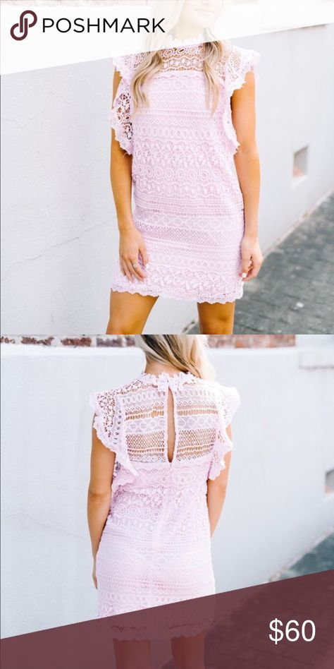 "Boutique Lace Dress A beautiful lilac purple/pink lace dress.  Sleeveless mini with a back zipper and open keyhole. Coming soon so ""Like"" for notification of arrival. Trindy Clozet Boutique Dresses"