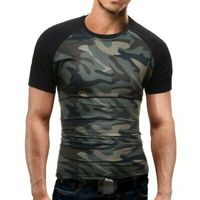 Mens Camouflage Athletic Gym Muscle Top Tee Military Slim Fitness T-Shirt Blouse