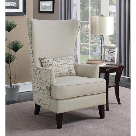 Traditional Cream Accent Chair Size 5 Inchw X 48 Inchh High Back Accent Chairs Furniture Accent Chairs High back living room chairs