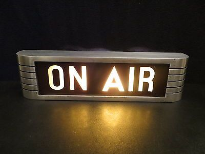 VINTAGE OLD 1950s ANTIQUE RCA ON AIR RADIO ART DECO GLASS & METAL ...