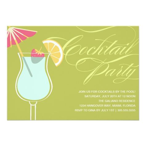 Summer Cocktails Party Invitation Zazzle Com Cocktail