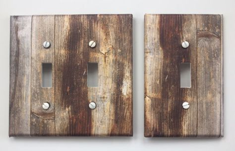 Rustic Wood Light Switch Plate Cover Planks Grey Brown