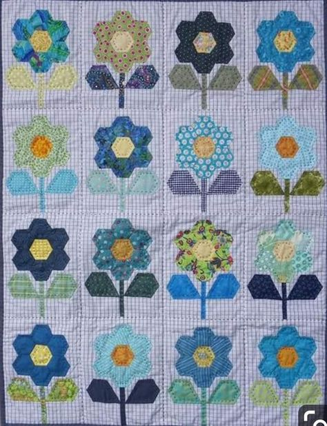 Hexies In Bloom Quilt Pattern Pieced//English Paper Pieced AL