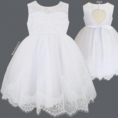 Robe De Bapteme Bebe Fille Blanche En Dentelle Perles Satin Tulle Et Dos Ajoure Agathe Robe Bapteme Idees Vestimentaires Robe De Bouquetiere