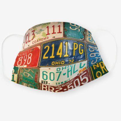 Retro Rusty License Plates Cloth Face Mask Zazzle Com In 2020 Face Mask License Plate Retro