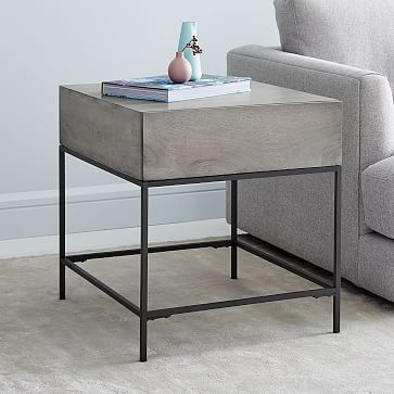 Industrial Storage Side Table Gray Westelm With Images Side