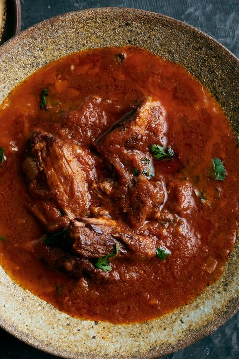 NYT Cooking: Birria, the regional stew from Mexico saw a meteoric rise in popularity recently, as a soupy style made with beef, popularized by birria vendors in Tijuana, took off in the United States. The chef Josef Centeno, who grew up eating beef and goat birria in Texas, makes a delicious, thickly sauced version based on his grandma Alice's recipe, mixing up the proteins by using oxtail, lamb on the bone...