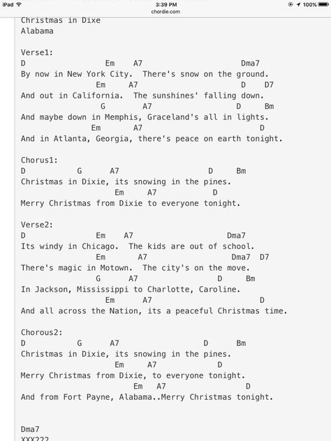 Alabama S Christmas In Dixie Ukulele Chords Songs Alabama Song