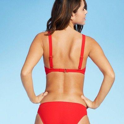 Women/'s Tie Front Cap Sleeve Bralette Bikini Top Xhilaration Size XS Red