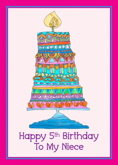 Happy 5th Birthday To My Niece Party Cake Card Ad Ad Niece