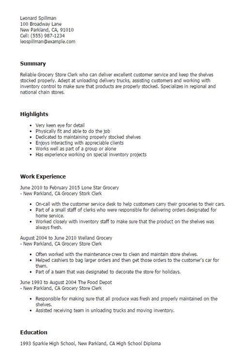 Grocery Store Clerk Resume -    jobresumesample 1514 - store clerk resume