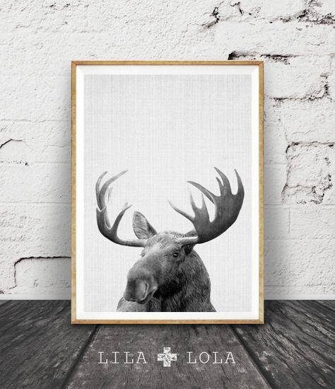 Impression d'élan, forêt bois Animal murale Art, crèche imprimable, genre neutre, cadeau pour enfants, noir blanc enfants chambre décor, désert