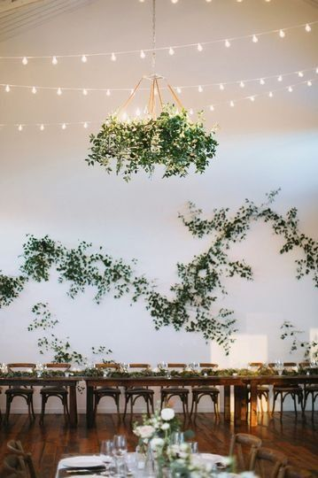 Wedding Reception Decor Hanging Greenery Hanging Light Fixtures Greenery Wall Decor Christina Wedding Wall Decorations Wedding Wall Greenery Wall Decor