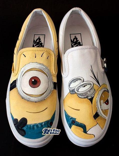 minion shoes hand painted Despicable Me Shoes Slip-on Painted Ca,Slip-on Painted Canvas Shoes