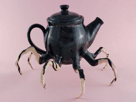 "Halloween inspired sculpture curiosities , spider teapot "" by (white stoneware, Spider Legs, Black Spider, Gothic Home Decor, Gothic House, Halloween Decorations, Weird, Creatures, Steampunk, Pottery"