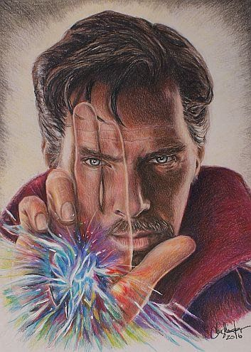 Doctor Strange Benedict Cumberbatch Print Of Colored Pencil