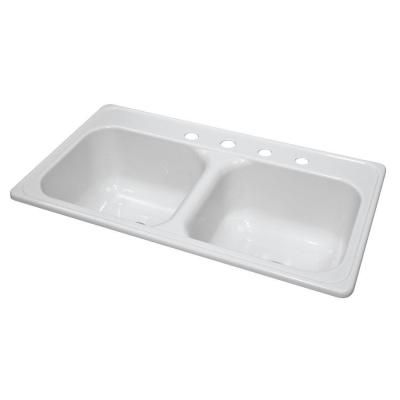 Lyons Industries Style J Top Mount Acrylic 33x19x9 in. 4-Hole 50/50 Double Bowl Kitchen Sink in White-DKS01J4-3.5 - The Home Depot  sc 1 st  Pinterest & Lyons Industries Style J Top Mount Acrylic 33x19x9 in. 4-Hole 50/50 ...