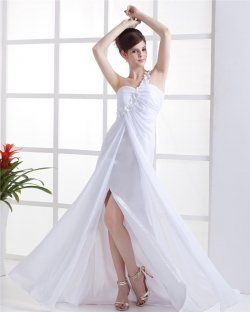 Artisanat Fleurs asymétrique Watteau train robe de soirée en mousseline de soie plissée