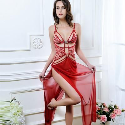 1fe8c52a09db Sexy Sleep Dress with Splitted Mesh Floral Lace Satin Bow Red Large