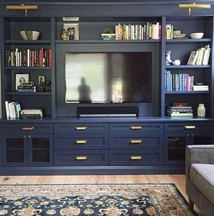 Bedroom Ideas Dark Blue Hale Navy 25 Ideas Built In Tv Cabinet Family Room Walls Tv Built In