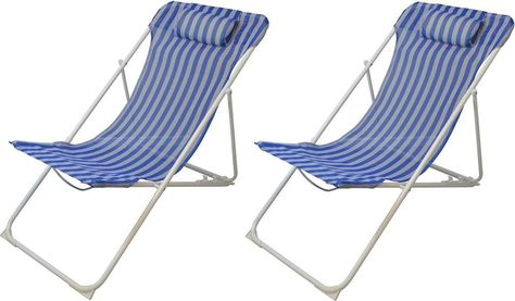 Metal Deck Chairs Folding Blue White Stripe Beach Camping Fishing