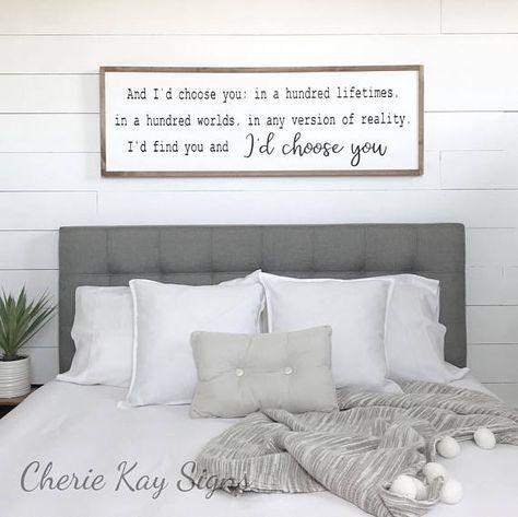 bedroom decor I'd choose you wood sign farmhouse