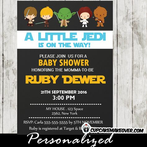 Space Wars Baby Shower Invitation Girls Pink Personalized