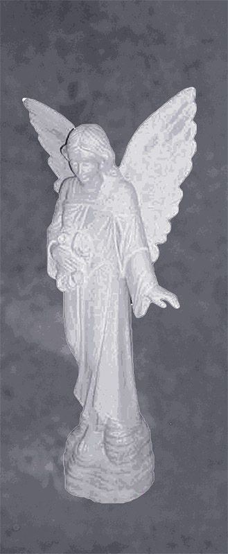 Angel Of Grace Holding Flowers Granite Monument Sculpture