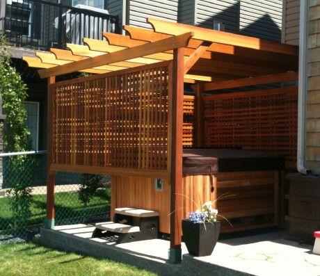 Pin By Janis Stitt On Gardens To Love Hot Tub Pergola Hot Tub Surround Hot Tub Patio
