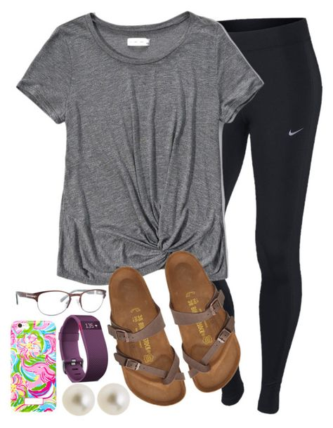 ootd: church cleanup tonight. by legitimately-kierstin on Polyvore featuring Abercrombie & Fitch, NIKE, Birkenstock, Fitbit, J.Crew, Lilly Pulitzer and Sperry