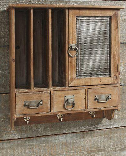 Amazon De Wandschrank Milton Garderobe Landhaus Metall Holz Wandregal 53x56x19cm Braun Rustikal Wandvitrinen Tellerregal Wandschrank